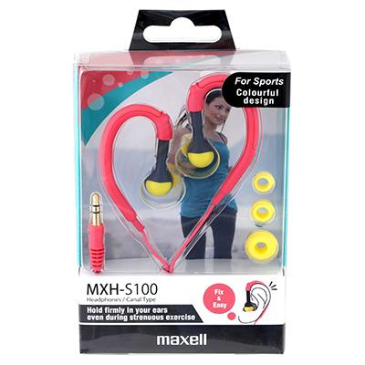 אוזניות ספורט ורודות MAXELL